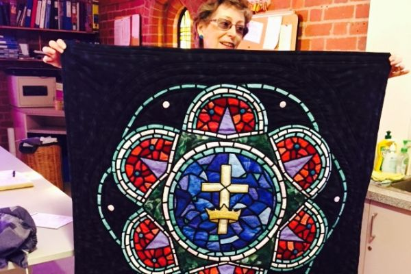 Rose window banner at Holy Trinity Hampton